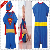 New Cute Boy Superman suit Swimsuit One-Piece Jumpsuits Baby Swimwear + hat 2 Pcs Size 3T-7T Halloween costume YY030