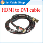 Free shipping&wholesale 1pcs/lot Premium Gold-plated HDMI to DVI cable M/M HDMI A male to DVI-D dual link with nylon mesh&filter(China (Mainland))