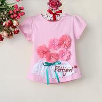 Baby Girls Blouse T-Shirts Kids Pink Flower Short Sleeve t shirt For Girl Summer Tops Children t-shirt