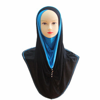 Newest 2014 HOT COTTON islamic scarf hijab beading BIG LONG MUSLIM one piece HIJAB