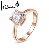Italina Rigant 1Pcs Free Shipping Austrian Wedding Rings For women 18K Rose Gold Plated With Swarovski Crystal Stellux #RG94064