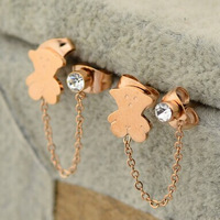 14k rose gold plated double hole bear earring