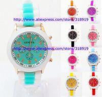 2014 New Double color band geneva men women unisex watch silicone jelly rubber candy quartz fashion wrist watches 100pcs/lot