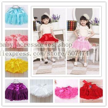 Free shipping 10 color Girls bowknot skirt (3 pieces/lot) Pretty princess tutu skirt children's tutu skirt Girls cake yarn skirt