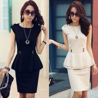 Peplum skirt business ol shift dress set sleeveless T-shirt short skirt professional set black and beige