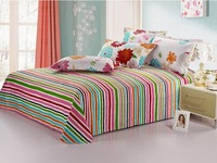 Free Shipping 2013 New Design Colourful Printing/ Striola/Grid Bedding Set/ Bedding Sheet /Bedspread/Bed sheet sets/Bed sheet