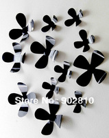 Listed in Stock 12 x 3D black  PVC Flowers Decals Mural Vivid Stickers Unique Design for Home Decoration