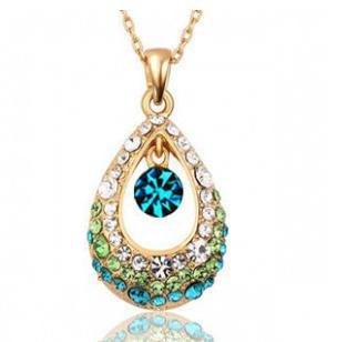 Wholesale 12pcs/Lot Classic Charms Gold Plated Angel Tear Crystal Water Drop Pendant Necklace D13R5C