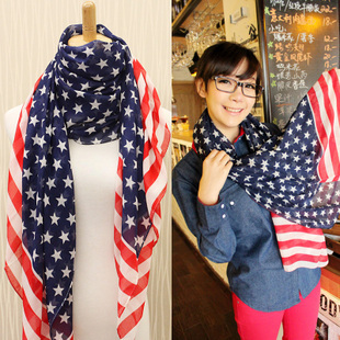 Free shipping USA stars stripes flag fashion elegant all-match ultra long chiffon scarf for women SC0048(China (Mainland))