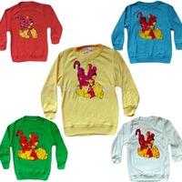 Hot 2015 New retail kids clothes 1 ~ 5 Age cotton girls boys T-shirt Tigger cartoon long sleeve T-shirt Free Shipping