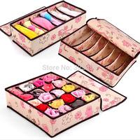 6+7+20 Home organizador foldable boxes /Bamboo Charcoal non-woven fibre Storage Box organizer for bra underwear necktie socks