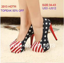 2013 Newest fashion United States flag design navy Jeans Women's Super High Heels Shoes Pump lowest price,Free shipping 34-42(China (Mainland))