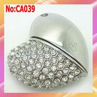 2014 hot sale Wholesale 1GB to 64GB Metal Heart Jewelry USB Flash Drive Memory Card Pen Drive Sticks stock Free Shipping #CA039