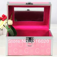 180*110*110mm Professional Cosmetic Toiletry Makeup Train Jewelry Case Box w/ Mirror, Beauty Organizer, factory supply