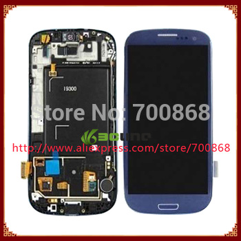 5pcs/lot For samsung For Galaxy s iii i9300 lcd with digitizer assembly + Frame Blue color Free shipping by EMS DHL