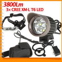 UK Warehouse! Sale! SecurityIng 3800Lm CREE XML T6 LED Bike Light Bicycle Head Lamp & Headlamp Headlight + Battery Pack