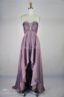 Actual picture A-line sweetheart Rhinestone evening dresses hi lo folded purple dress ACT100