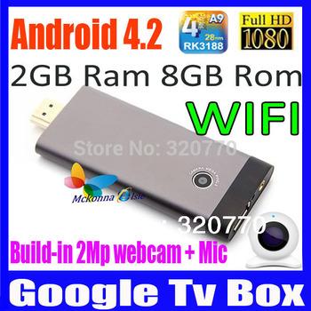 2014 New! Android 4.2 B12/S21D Upgarde HI705 TV Smart Player/Box RK3188 Cortex A9 Quad Core+Bluetooth 2.1+Mic&2Mp Webcam 8GB ROM