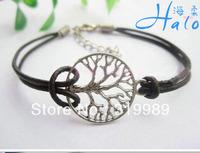 Free shipping 12PCS/Lot Antique Bronze Wishing Tree Charm Bracelet Christmas' Pulseras Trendy Girl Custom Jewelry B00700