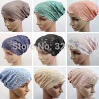 1Dozen=12Pcs Lace Multicolors Islamic Underscarves,Fashion Muslim Inner Hat,Scarf Ring,Conveniency Arabic Hijab Free Shipping