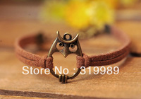 Free shipping!12PCS/Lot!2013 Antique Bronze Owl Charm Bracelet Brown Suede Leather Cuff Bracelet For Women B00703