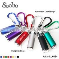 (600pcs/lot )retractable led Flashlight carabiner key chain,mixed colors,24pcs/ box,free shipping and free customized laser logo