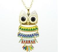 fashion joker oil drip colour owl long pendant sweater necklace free shipping HeHuanXL043