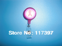 Free Shipping wholesales  Breast Cance Awareness Pink color id reel id badge holder strap clip on   20pcs/lot