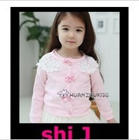 2014 new Free shipping the tops clover wholesale Girls clothes flower girl spring jacket 2~11Age