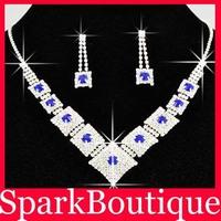 (24% off on wholesale) New Bridal Jewellery Set Blue Rhinestone Wedding Necklace Bride Necklace Free Shipping