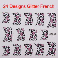 24 Styles Professional 3D Glitter Nail Art Stickers Decals French Tip Free Shipping