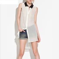 FREE SHIPPING 2014 summer fashion Black wave loose dovetail white sleeveless women's shirts ultralarge pleated t-shirts sh712