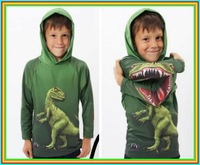 shij free shipping newTops sale retail dinosaur hoodie 2013 boys children fashion autumn hoodies kids children's sweater