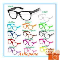 20xNew Fashion Retro Vintage Unisex Clear Lens Wayfarer Nerd Geek Eye Glasses 14 Colors