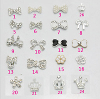 alloy rhinestone pearl bow shaped shining Nail Art Sticker, cell phone Decoration sticer 10pcs/lot