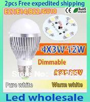 Dimmable 5x3w(15w)  4X3W (12w) 3x3w (9w)  3w B22 E14 E27 base holder warm / cold white LED bubble ball bulb light lamp