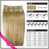 "Wholesale 15""-22"" Women's Remy Hu-man Hair Straight Clips In Hair Extensions 70gr  Golden Blonde #24"
