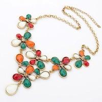 Vintage Resin Gem Flower Water Drop Shorts Gold Collar Choker Statement Necklaces & Pendants Fashion Jewelry Women Wholesale T17