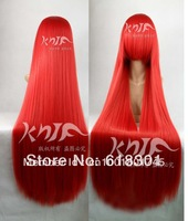 Blasting with special offer free shipping 100 centimeters red straight hair anime cosplay universal character wig ball