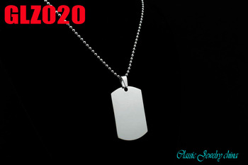 with ball chain  316L stainless steel pendant two-sidedl polished  common soldier brand dog tag necklace  10pcs GLZ020