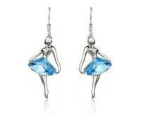 (Minimum order $ 15) Free Shipping Austria Element Crystal Dream Dancer Angels Ballet Girl Earrings