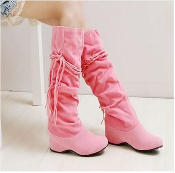 2014 New Hot Sexy Velvet Flock Knee High Women Flat Boots/Lovely Comfortable Tassel Winter Boots