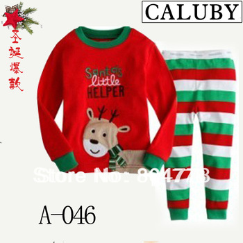 2013 xmas new baby pajamas long sleeve christmas santa series children's pj  kid's sleeping wear 6pcs/lot