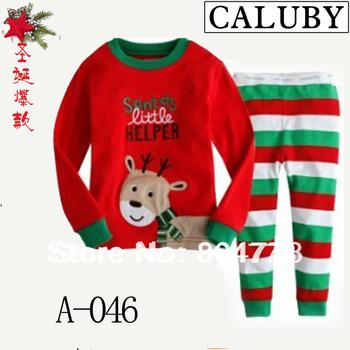 2013 xmas new baby pajamas long sleeve christmas santa series children's pj  kid's sleeping wear 6pcs/lot