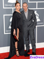 One Shoulder Full Long Sleeve Slit Side Sweep Train Satin Jennifer Lopez Sexy Red Carpet Black Grammy Celebrity Dress