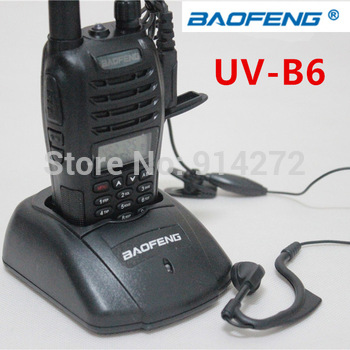 Free Shipping Hot-selling New Walkie Talkie BaoFeng UV-B6 Dual Band 2000mAh Battery with Free PTT earpiece for Hunting