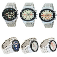 WholesalePro Mens Weide Beige Chronograph Circle Dial Date Week 24hours Water Resistant Sports Watches Free Shipping