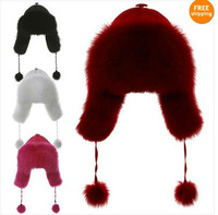 Fox fur Russian bomber trapper Aviator pilot fur hat cap headgear headdress wholesale drop shipping