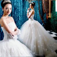 Korean sweet princess bride wiping a bosom dress new han 2012 winter upset /wedding dress 2267