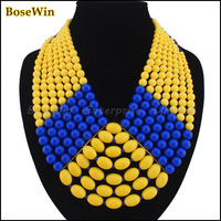 2013 Statement Jewelry Fashion Multi-layer Resins Beads Chain Choker Necklaces Free Shipping 5 Colors CE741